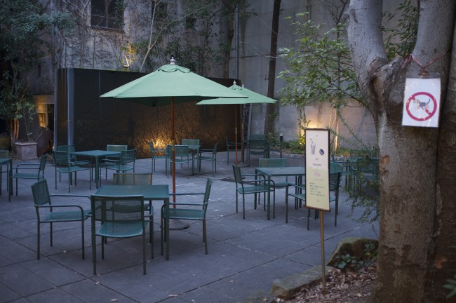 in Kamitori Shopping arcade in Kumamoto, the Cafe Avant Garden, is a small oasis with seating in a serene environment of nearby cafes and restaurants.