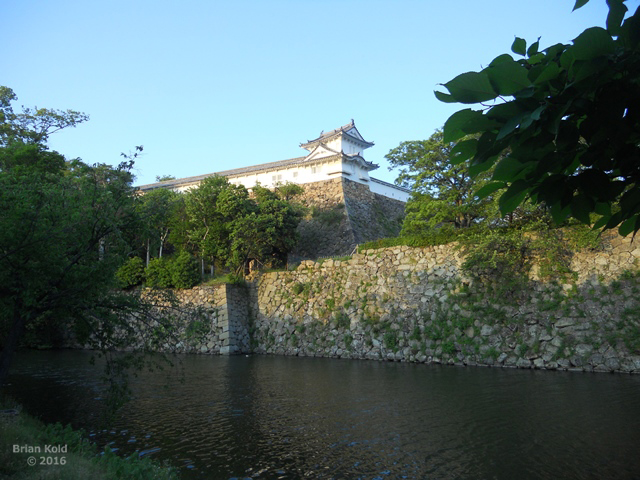 outside of Himeji Castle surrounded by a moat