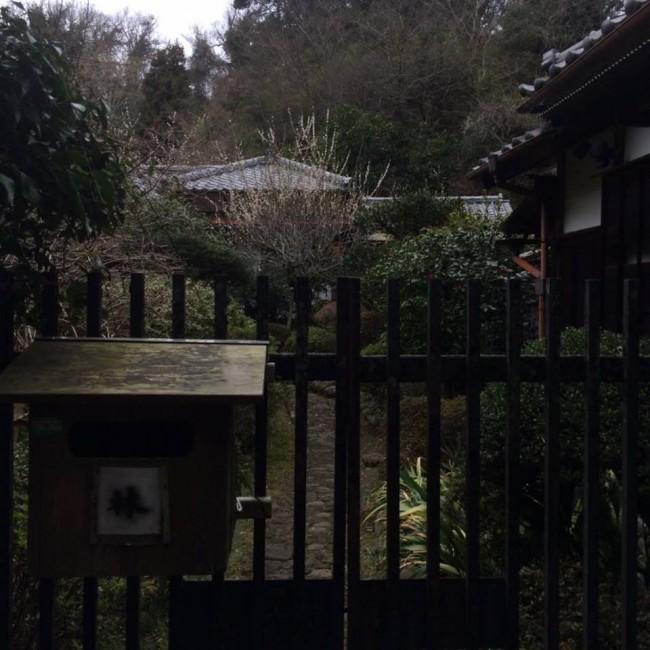 Smudged characters alongside Daibutsu hiking trail within Kamakura nature
