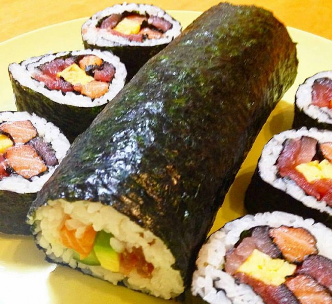 Savory sushi roll, a recipe of historic preservation