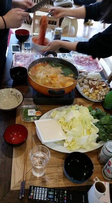 A recipe spread at dinner eating Japanese hot pot, homemade recipe