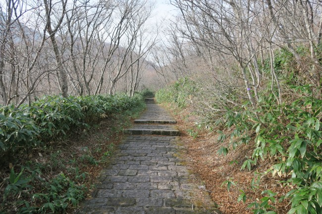 Empty hiking trail around Mount Nasu, five peaks for each volcano interwoven by a hiking route, Nikko