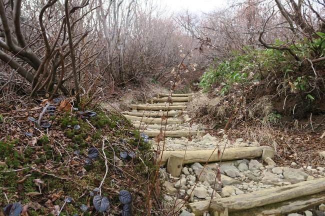 Winding autumn hiking path through Mount Nasu, five volcano peaks within Nikko