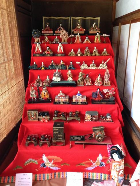 Doll display at the temple at Nanshoso.