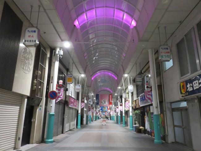 Shops closed at night at Kamikawabata Shopping Arcade