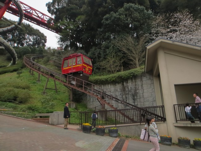 Monorail in Nakao castle park will take visitors up the mountain