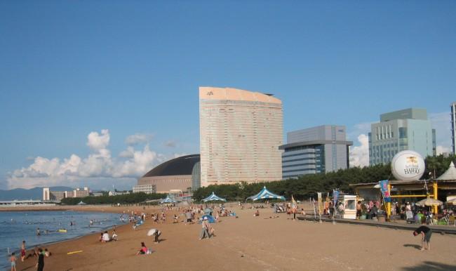 the beach in Fukuoka, Kyushu in Japan
