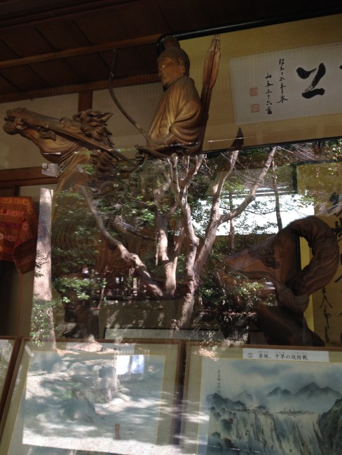 exhibit of archer on horse statue reflecting the history of Kamakura