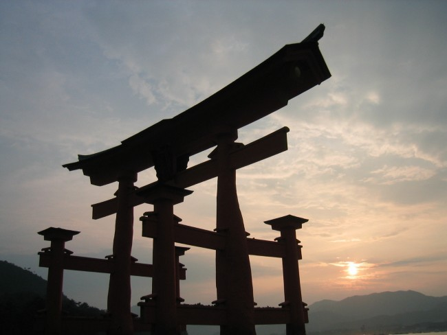 the floating gates of Itsukushima Shrine in Miyajima Japan are one of the most iconic images