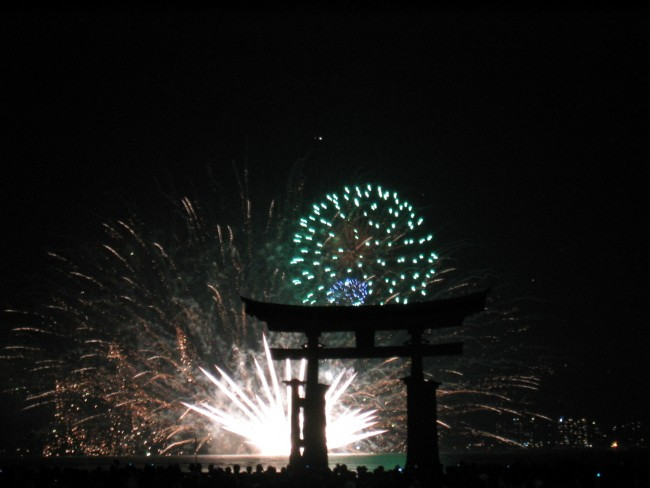 fireworks among Itsukushima Shrine in Miyajima, Japan
