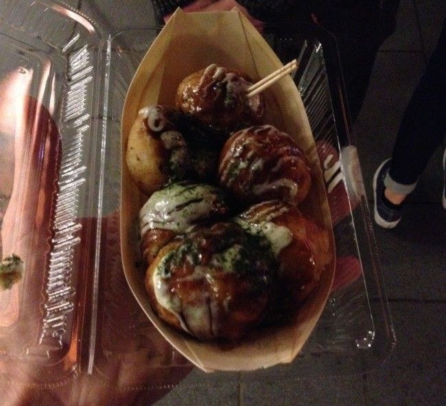 food stalls of the Mizu Akari Festival in Kumamoto sell various kinds of traditional Japanese food such as takoyaki