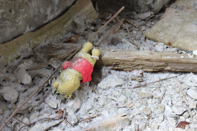 Abadoned Pooh teddy bear in the rubble at Matsuo Kouzan town.