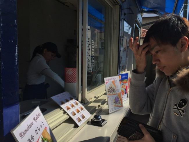 Ordering a crepe, Marion crepes cafe storefront, Hase street, Kamakura