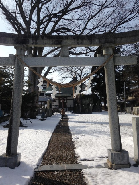 Snow covered gate to a Buddhist temple in Morioka.