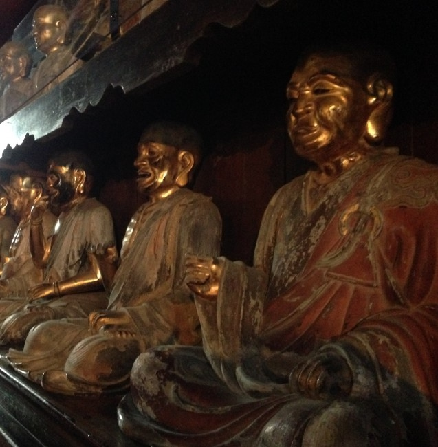 Buddhist statues at a temple in Morioka.