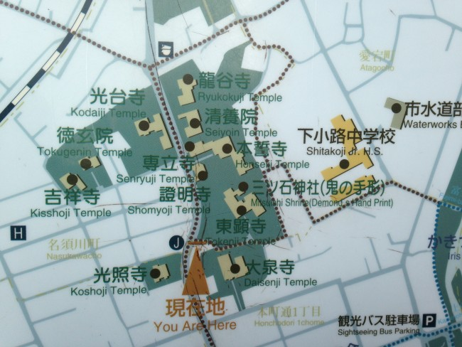 Map of a Buddhist temple in Morioka.
