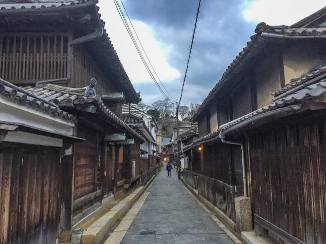 Quaint road for the quaint port town at Tomonoura
