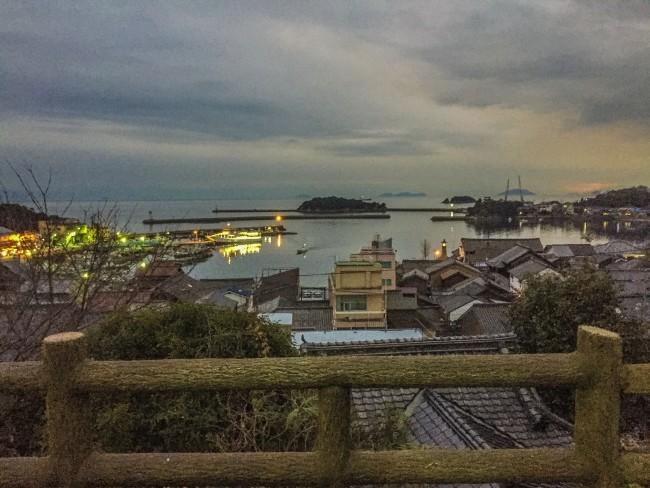 Night scenery to sea in Tomonoura