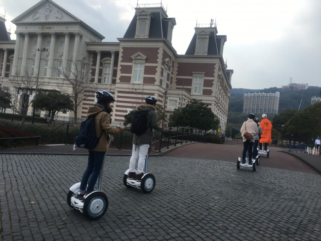 Riding the segway Huis Ten Bosch.