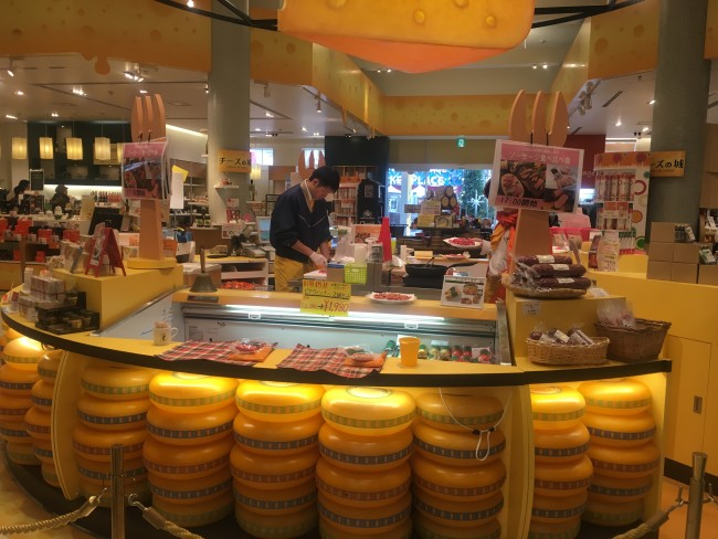 Many cheese wheels at Huis Ten Bosch.