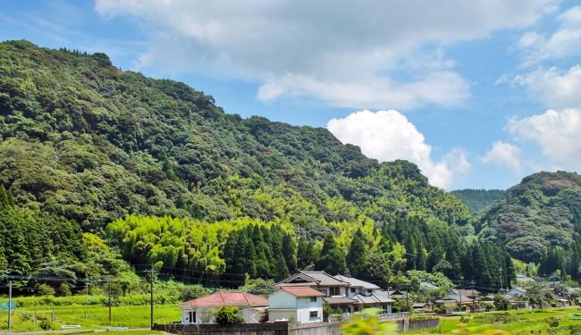 Mountain full of trees and some houses on the way to Kirishima Jingu Shrine.