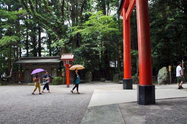 Torii gate before Kirishima Jingu Shrine.