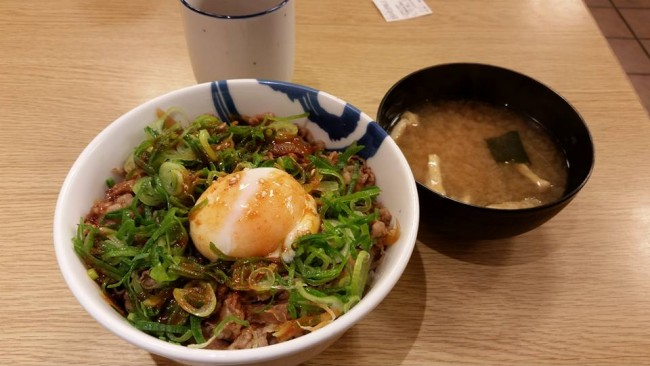 Miso soup as gyudon side dish