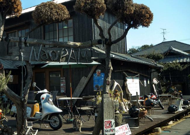 A rustic cafe in Miyanoura port, Naoshima island