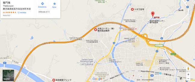 Map to get to Ryumondaki waterfall and nature in Kagoshima.