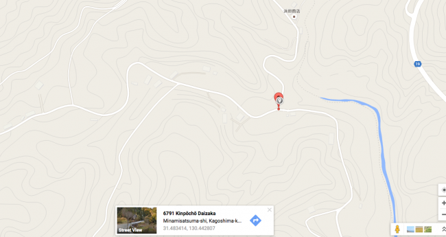 Map to get the the Chigonotaki waterfall and nature in Kagoshima.