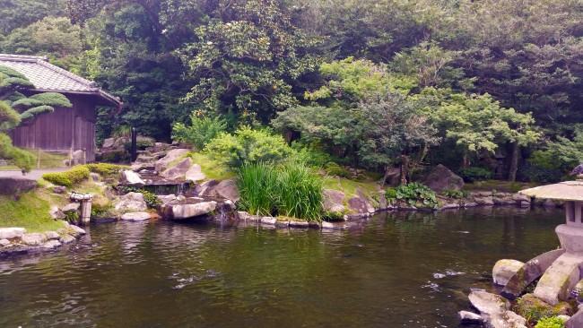 Sengan-en garden landscape with a shallow pond in Kagoshima.