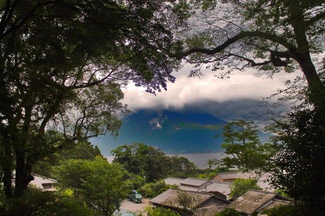 View of Sakurajima from Sengan-en.