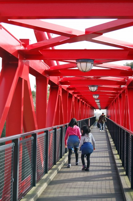 red bridge for hikers in Nakao mountain