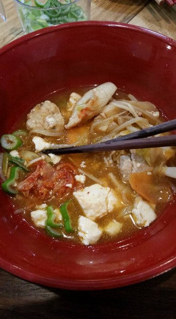 A small nabe serving, a typical Japanese hot pot recipe containing ever-varying portions