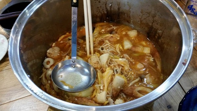Eating homemade Japanese hot pot recipe, nabe style