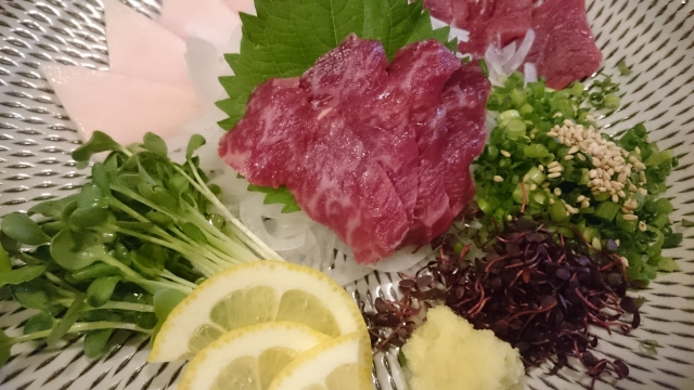 Famous Kyushu dish, horse sashimi