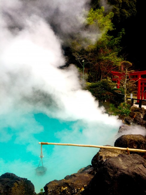 Boiling eggs in the steaming, first Jigoku, hell onsen in Beppu.