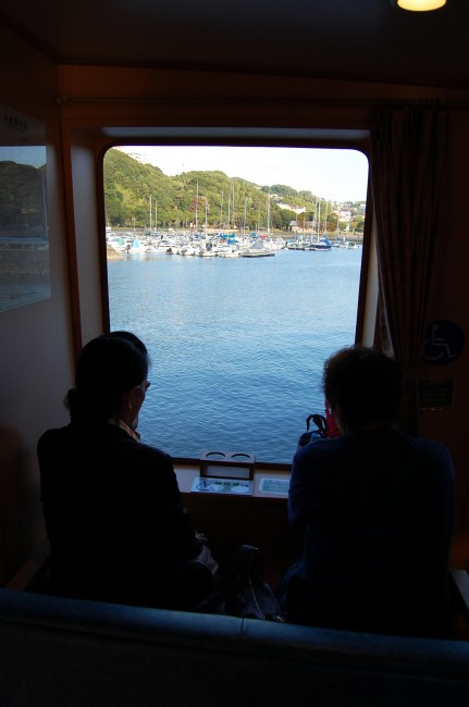 Looking out from a cruise ship