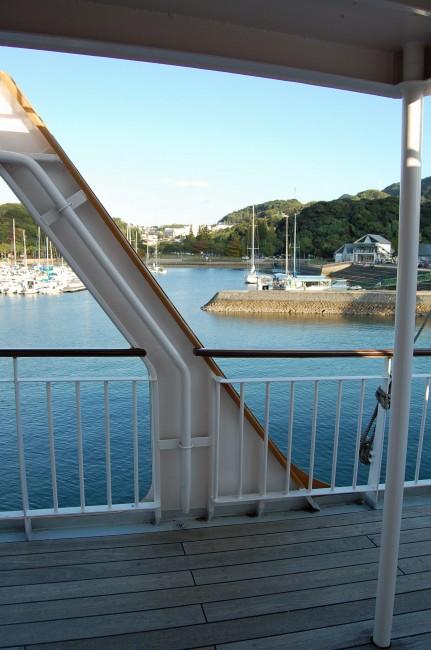 Lower deck of a cruise ship in Nagasaki's Kujukushima