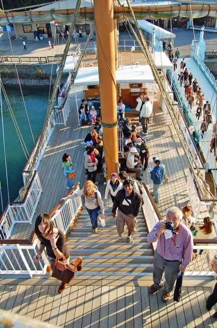Upper deck of sightseeing cruise ship