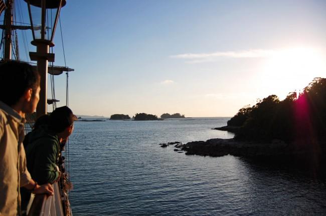 Sunset sightseeing cruise in Nagasaki's Kujukushima, famous for pearl cultivation.