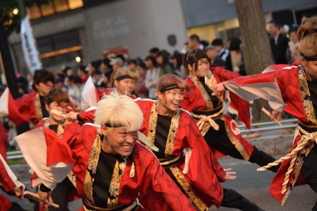 Many people dancing for Soran Festival dance in Sapporo.