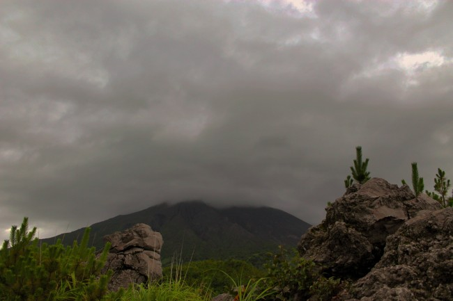 Clouds covering the volcano and surrounding nature at the island of Sakurajima.