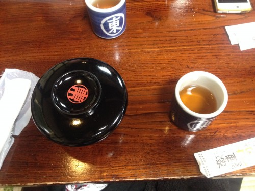 wanko soba noodles bowl and tea in restaurant