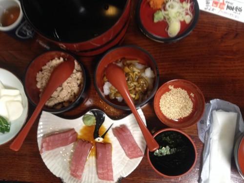 condiments for wanko soba noodles in restaurant, Morioka