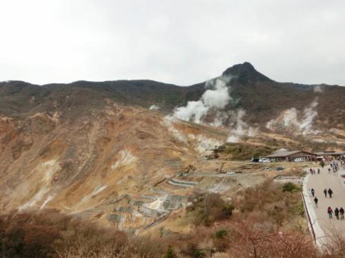 Owakudani caldera valley within abundant Hakone nature