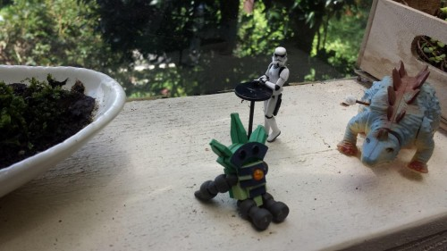 small figurines in cafe