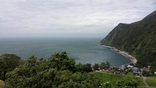 Scenic shot of ocean, mountain, beach