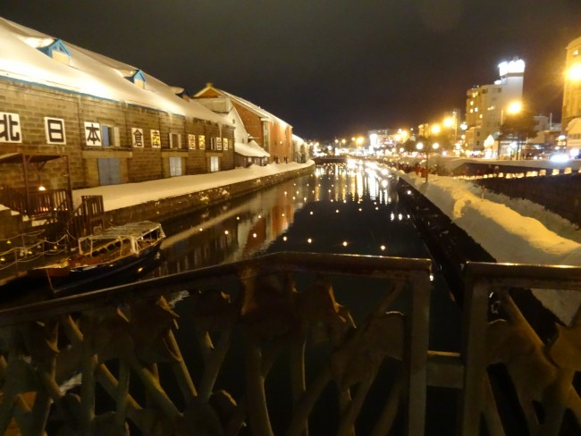 View of snow and a river from a bridge at Denuki in Otaru, Hokkaido.