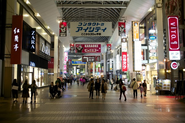 Shimotori is the center for Shopping in Kumamoto , offering the Japanese Shopping arcade experience
